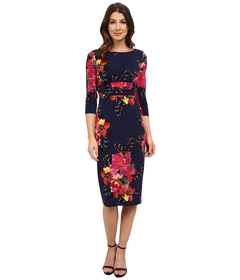 Sangria - Long Sleeve Floral Print Midi Sheath (Dusk/Multi) Women