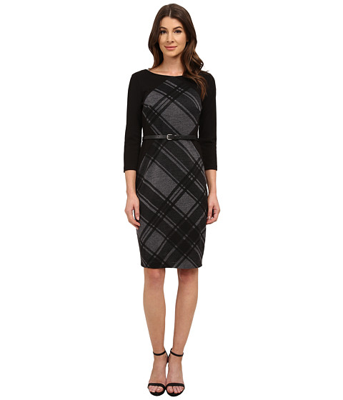Sangria - 3/4 Sleeve Plaid Print Sheath with Belt (Black/Sterling) Women's Dress