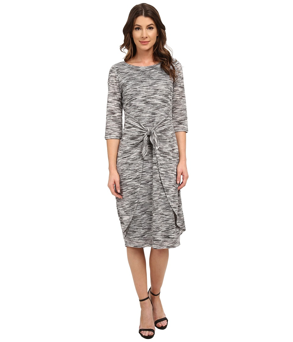 Sangria - 3/4 Midi Length Tie Waist Knit Sheath (Grey/Multi) Women