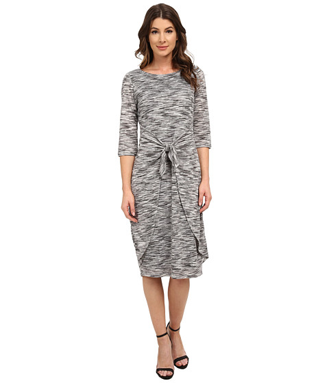 Sangria - 3/4 Midi Length Tie Waist Knit Sheath (Grey/Multi) Women's Dress