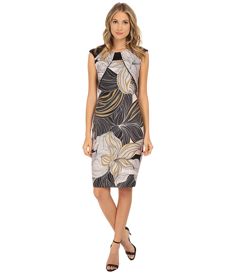 Sangria - Cap Sleeve Floral Print Midi Length Sheath (Black/Gold) Women