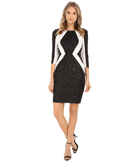Sangria - 3/4 Sleeve Textured/Contrast Sheath (Black/Ivory) Women