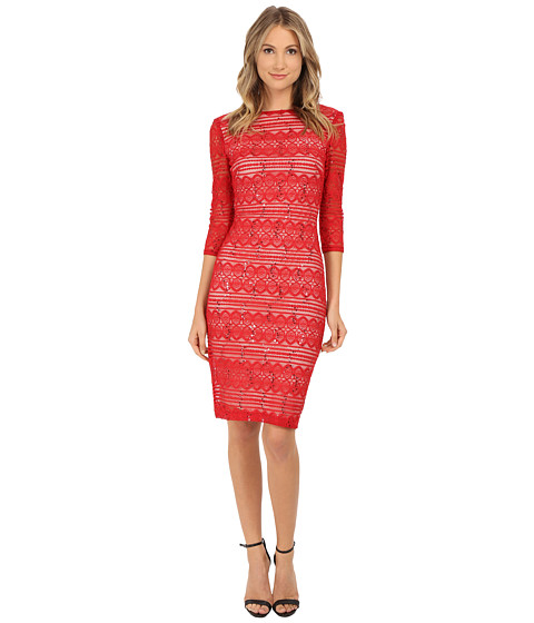 Sangria - 3/4 Sleeve Sequined Lace Midi Lace Sheath (Red) Women's Dress