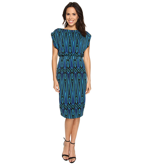 Sangria - Geo Print Blouson Midi Length Sheath (Batik/Multi) Women