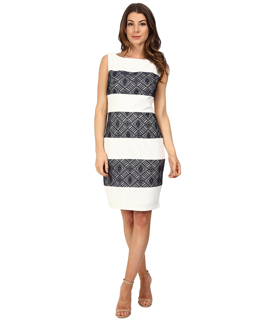 Sangria - Contrast Stripe Lace Sheath (Navy/Ivory) Women's Dress
