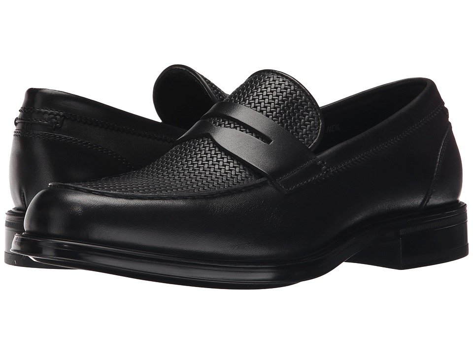 Aquatalia - Neil (Black Woven/Smooth) Men's Slip on Shoes