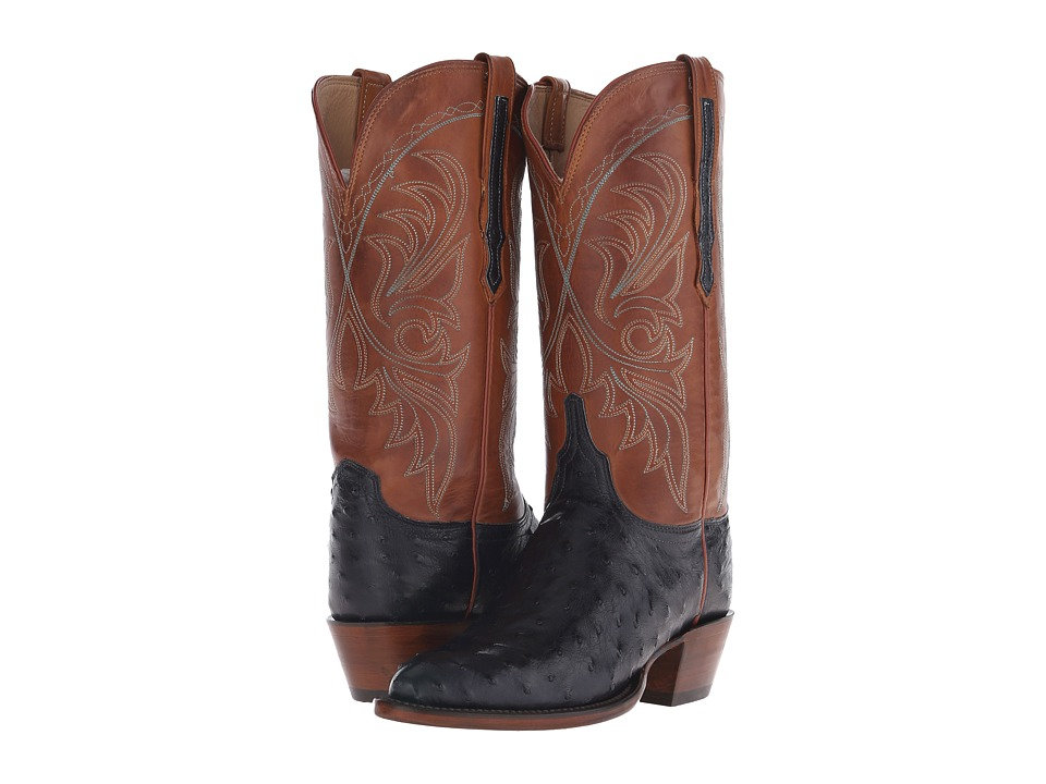 Lucchese - Harriet (Navy Full Quill Ostrich/Cognac Burnished) Cowboy Boots