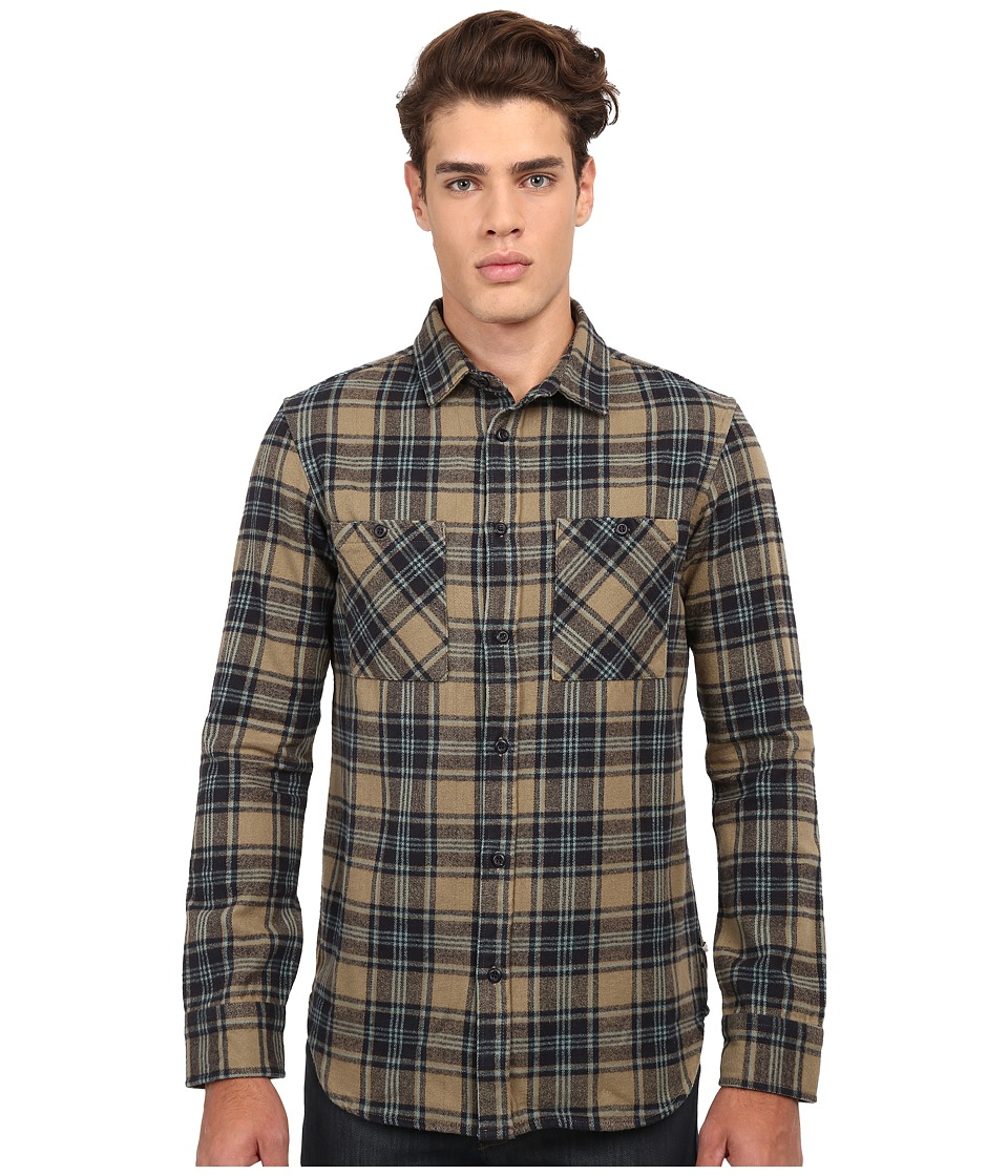 Altamont - Binary Long Sleeve Flannel (Putty) Men's Clothing