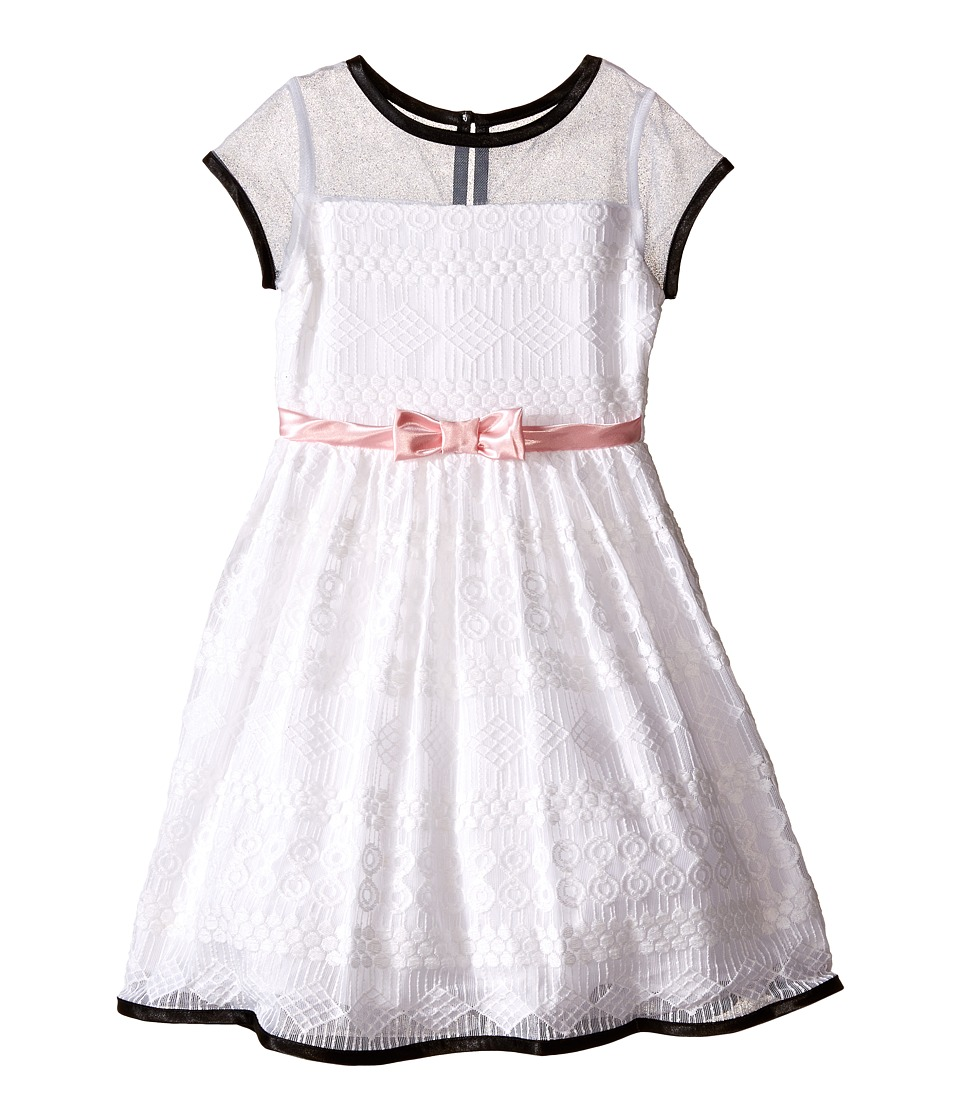 Us Angels - Geo Lace Short Sleeve Dress w/ Mesh Yoke Satin Belt (Toddler/Little Kids) (White) Girl's Dress