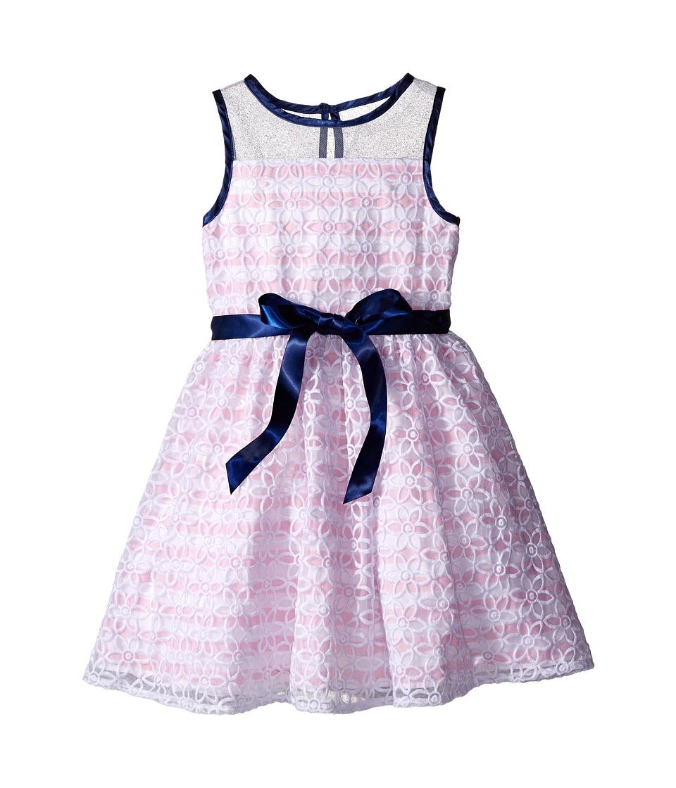 Us Angels - Organza Strip Sleeveless Illusion Dress w/ Belt Full Skirt (Toddler/Little Kids) (Pink/White) Girl's Dress