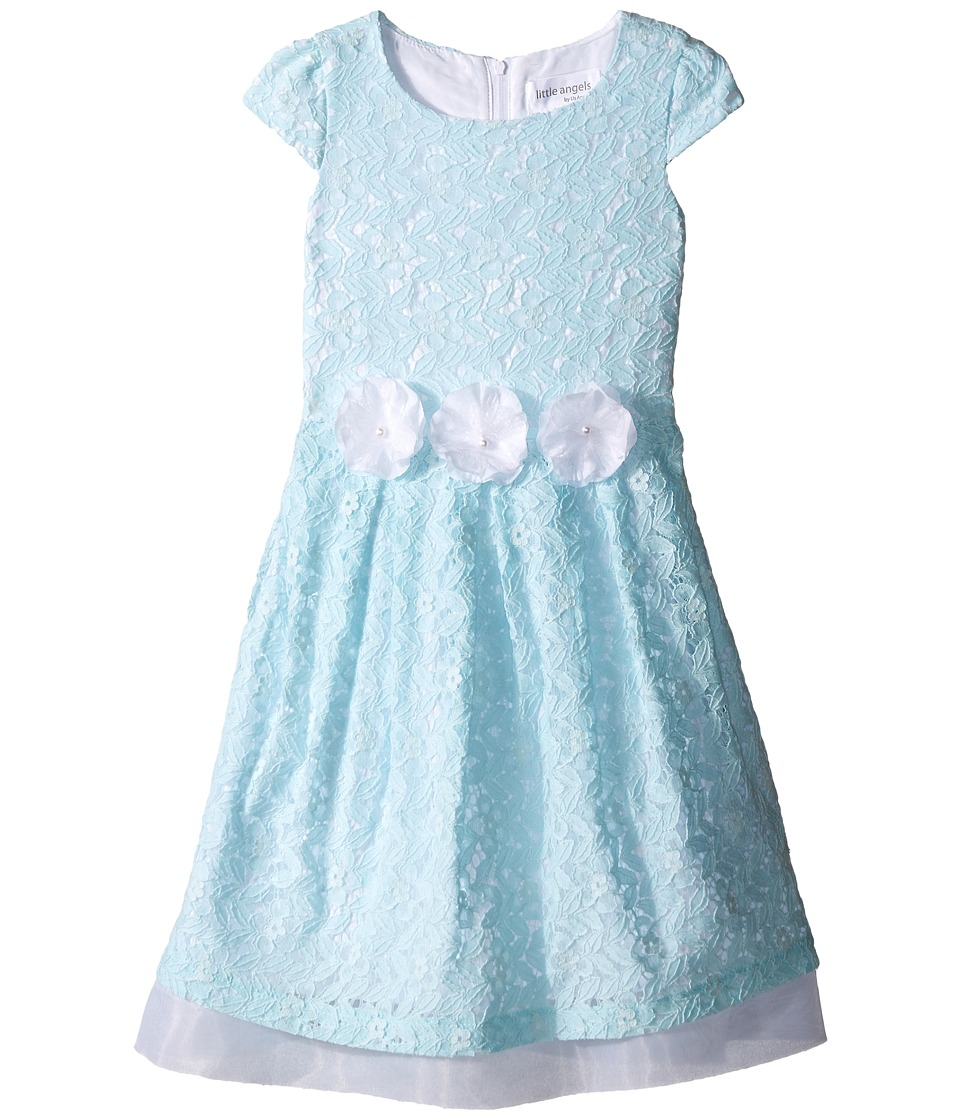 Us Angels - Lace Cap Sleeve w/ Organza Underlay Flower Trim (Toddler/Little Kids) (Blue) Girl's Dress