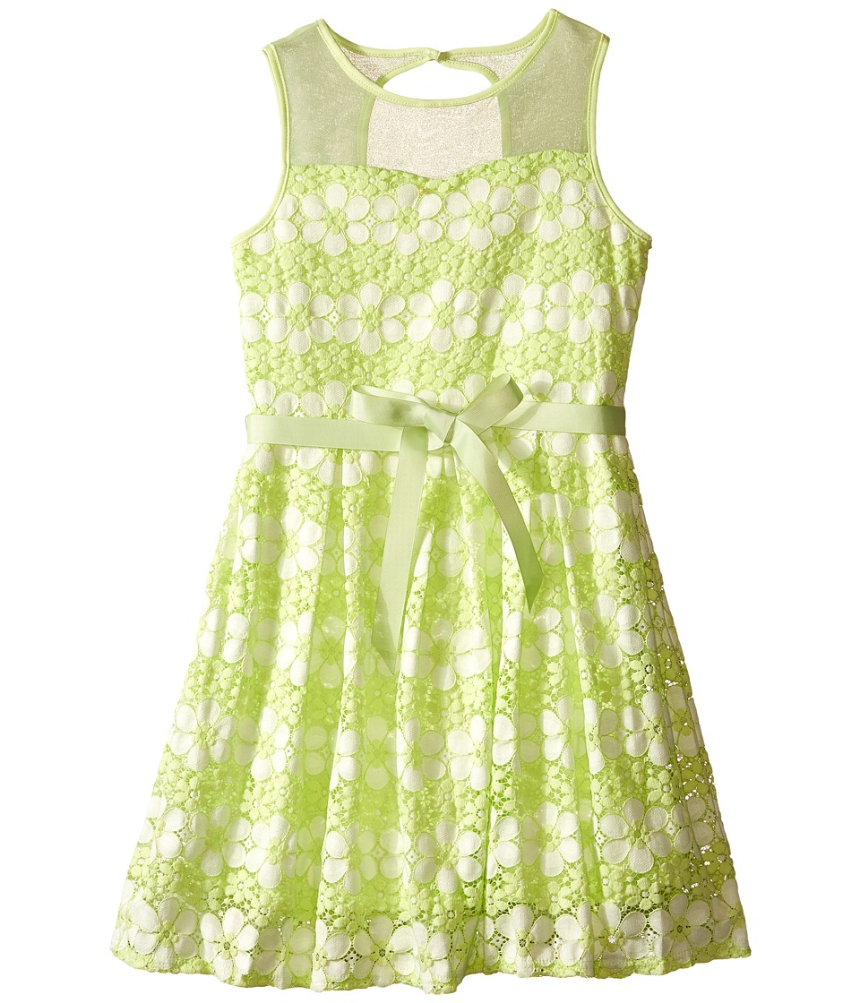 Us Angels - Daisy Lace Sleeveless Illusion Sweetheart Bodice w/ Full Skirt (Big Kids) (Mint) Girl's Dress