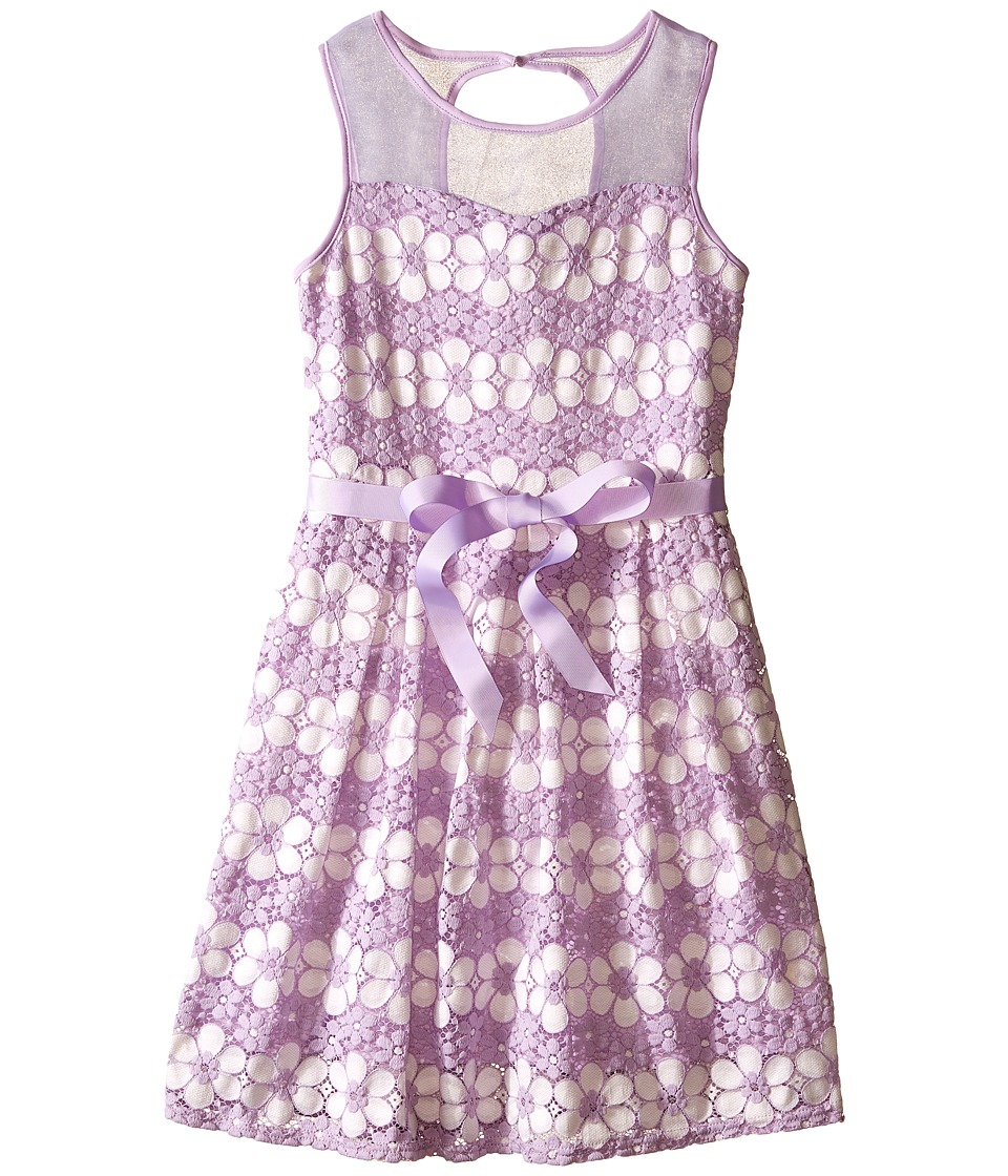 Us Angels - Daisy Lace Sleeveless Illusion Sweetheart Bodice w/ Full Skirt (Big Kids) (Orchid) Girl
