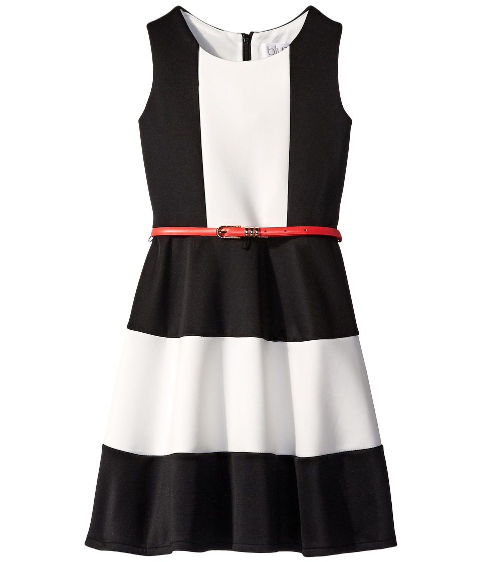 Us Angels - Scuba Tank Dress w/ Color Block Full Skirt (Big Kids) (Black) Girl's Dress