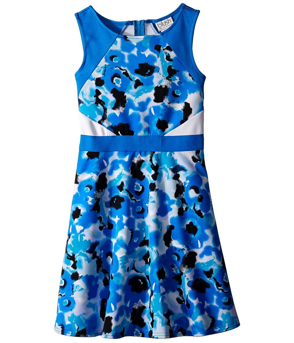 Us Angels - Scuba Sleeveless Fabric Color Block Bodice w/ Full Skirt (Big Kids) (Blue) Girl's Dress