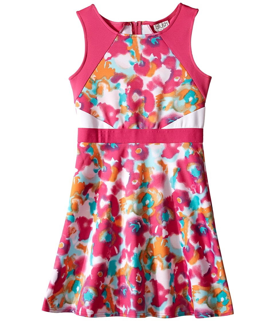Us Angels - Scuba Sleeveless Fabric Color Block Bodice w/ Full Skirt (Big Kids) (Fuchsia) Girl's Dress