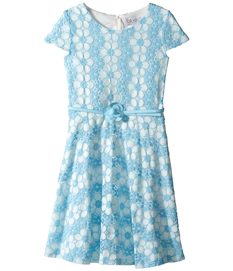 Us Angels - Daisy Lace Cap Sleeve Dress w/ Belt Full Skirt (Big Kids) (Sky) Girl's Dress