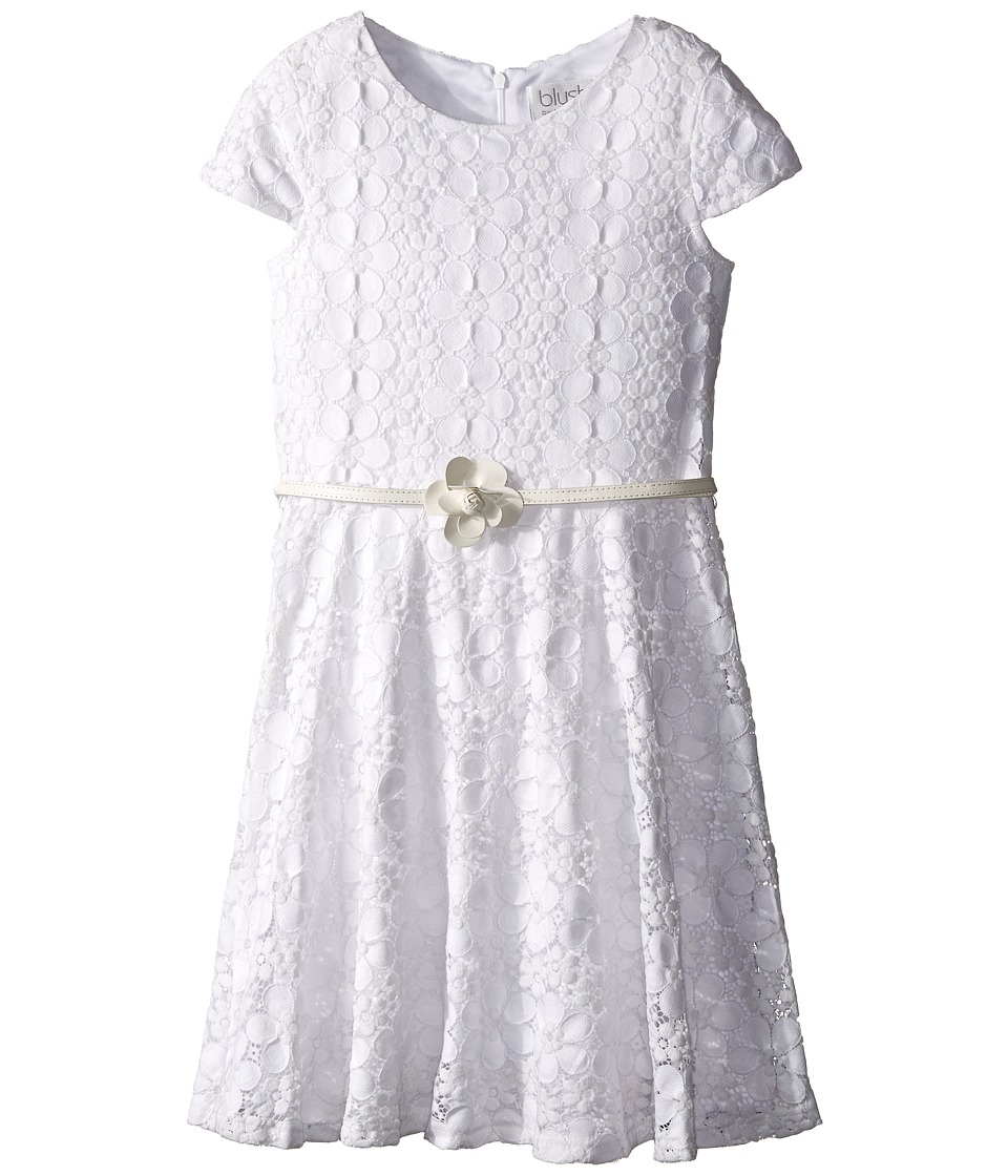 Us Angels - Daisy Lace Cap Sleeve Dress w/ Belt Full Skirt (Big Kids) (White) Girl's Dress