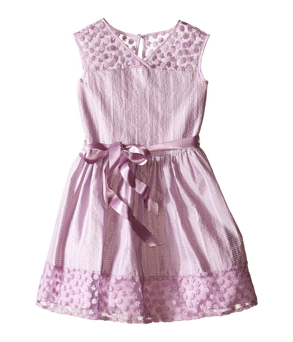 Us Angels - Novelty Jacquard Drop Shoulder Illusion Dress w/ Belt Full Skirt (Big Kids) (Orchid) Girl's Dress