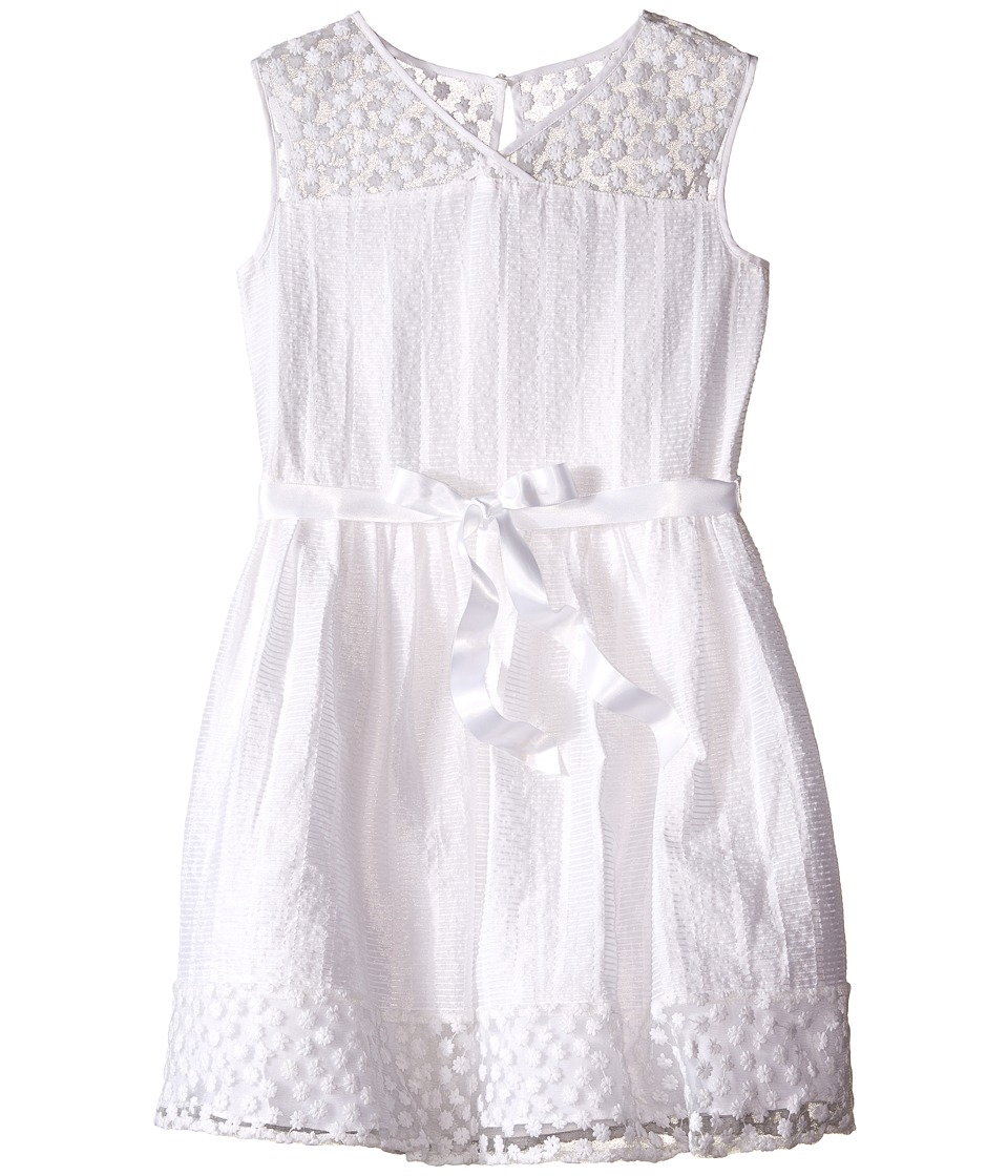 Us Angels - Novelty Jacquard Drop Shoulder Illusion Dress w/ Belt Full Skirt (Big Kids) (White) Girl's Dress