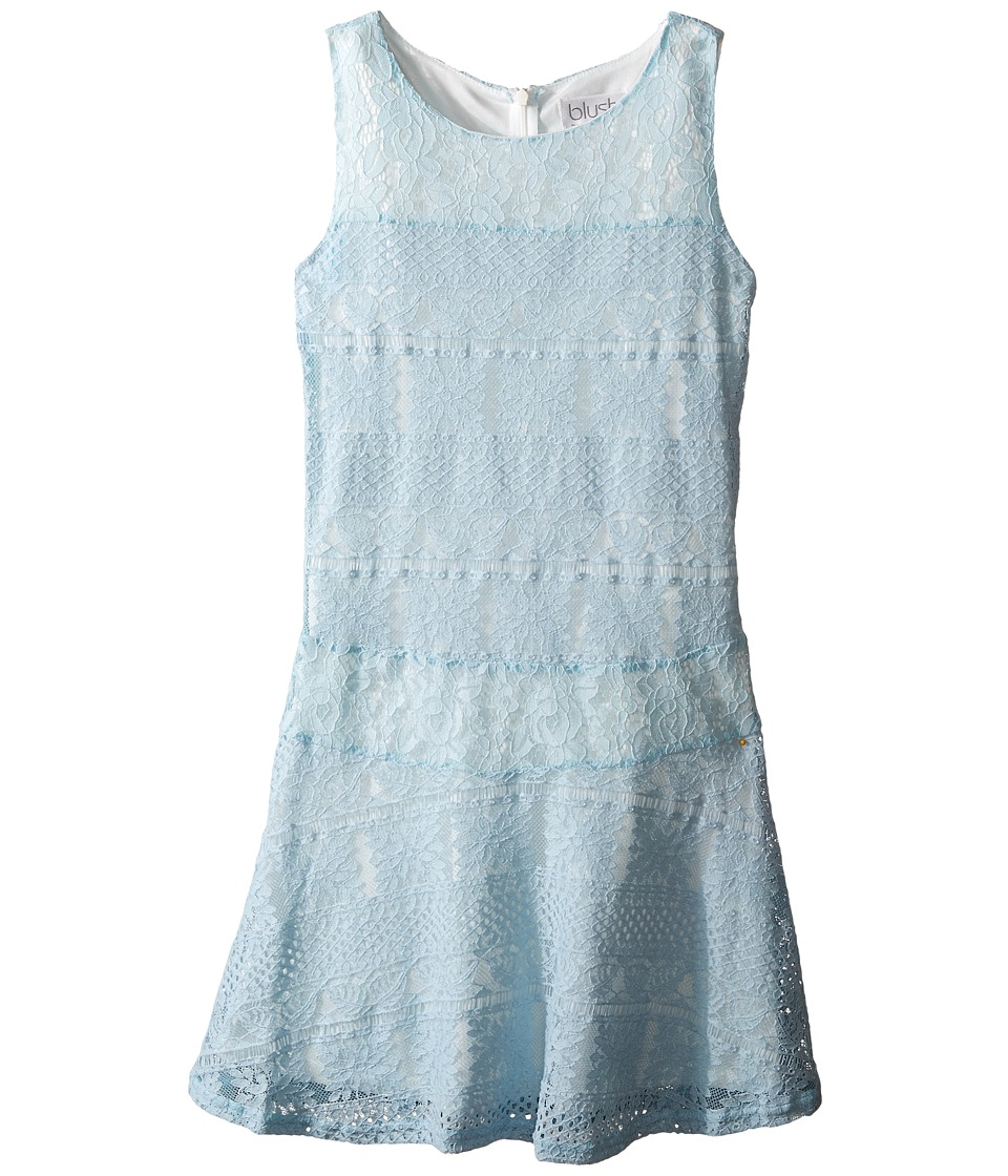 Us Angels - Striped Crochet Lace Sleeveless Fabric Color Block w/ Full Skirt (Big Kids) (Sky) Girl's Dress