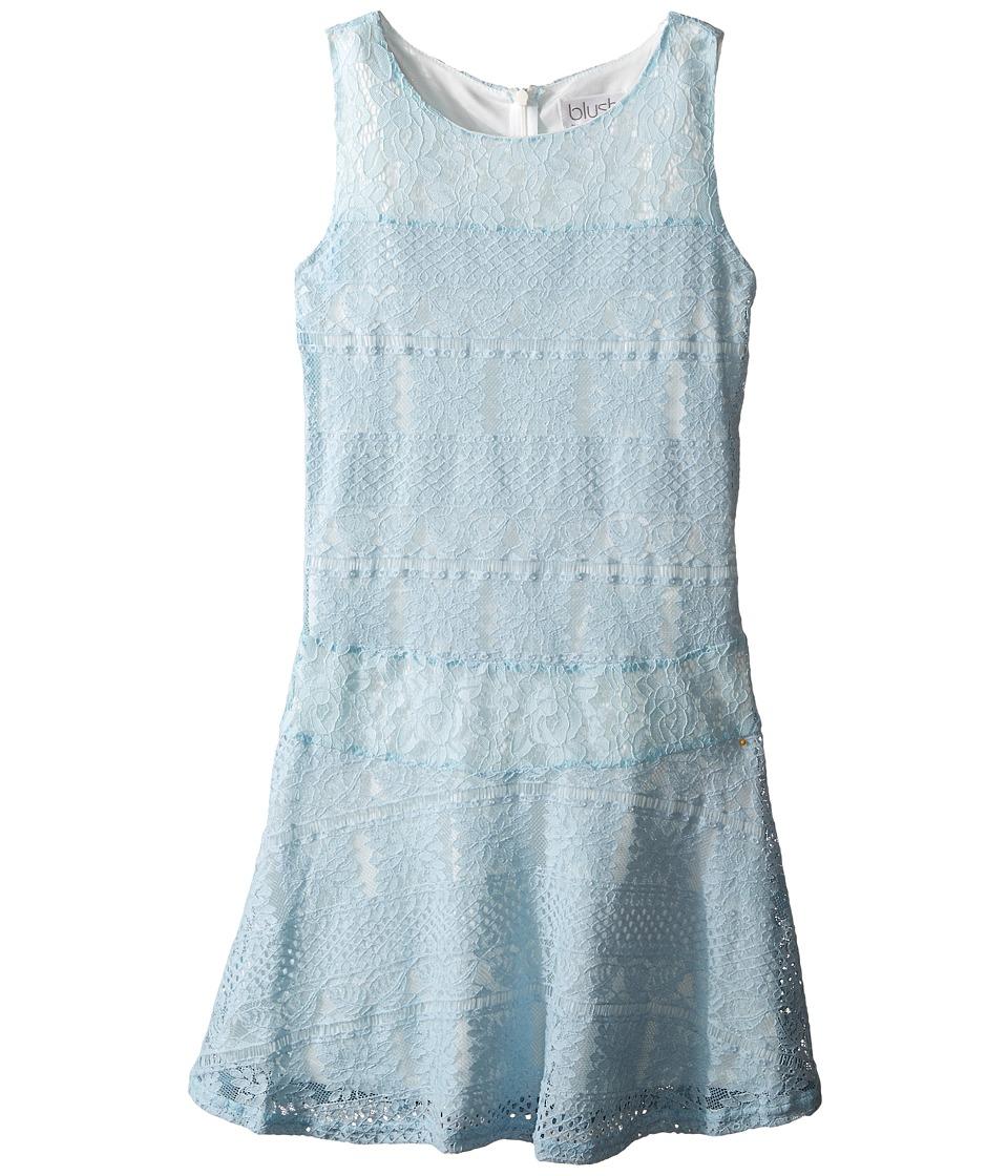 Us Angels - Striped Crochet Lace Sleeveless Fabric Color Block w/ Full Skirt (Big Kids) (Sky) Girl's Dress