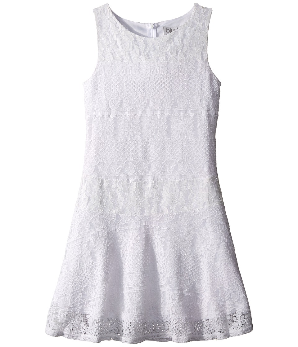 Us Angels - Striped Crochet Lace Sleeveless Fabric Color Block w/ Full Skirt (Big Kids) (White) Girl's Dress