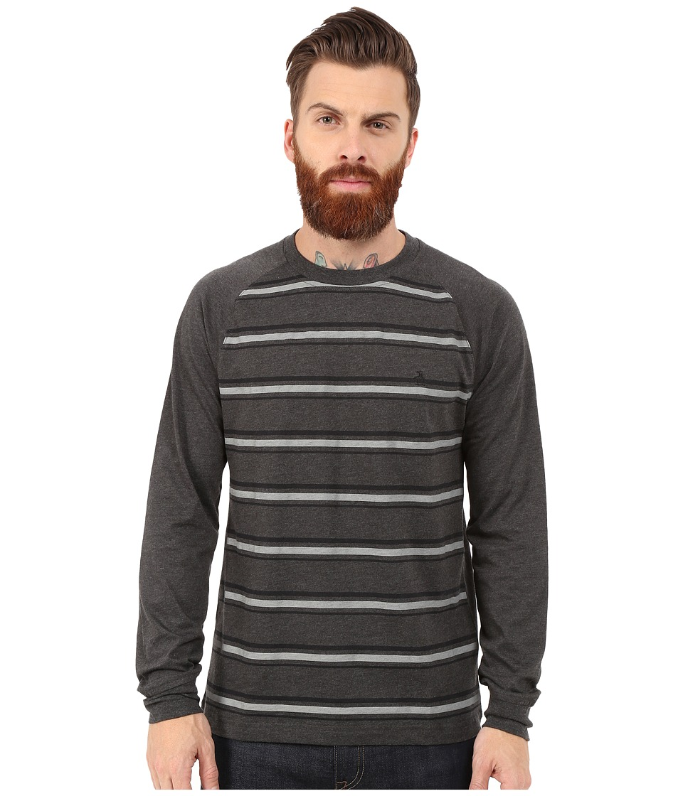 Original Penguin - Long Sleeve Raglan Heathered (Asphalt) Men