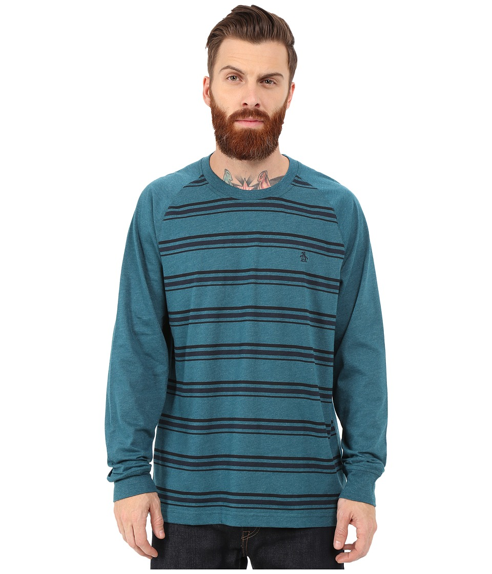 Original Penguin - Long Sleeve Raglan Heathered (Reflecting Pond) Men's T Shirt
