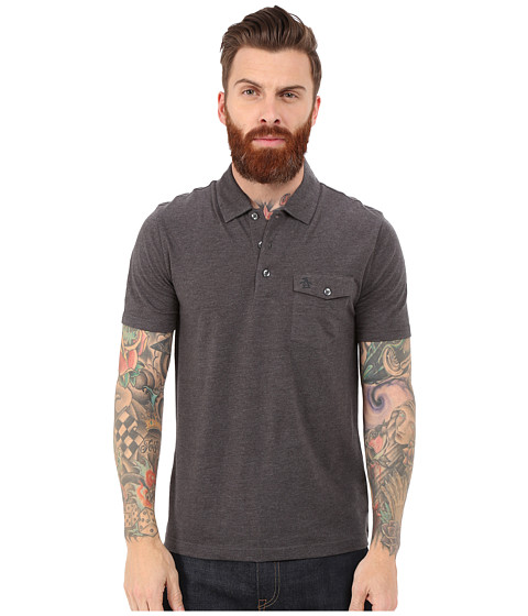 Original Penguin - Smack Pocket Polo (Dark Charcoal Heather) Men's Clothing