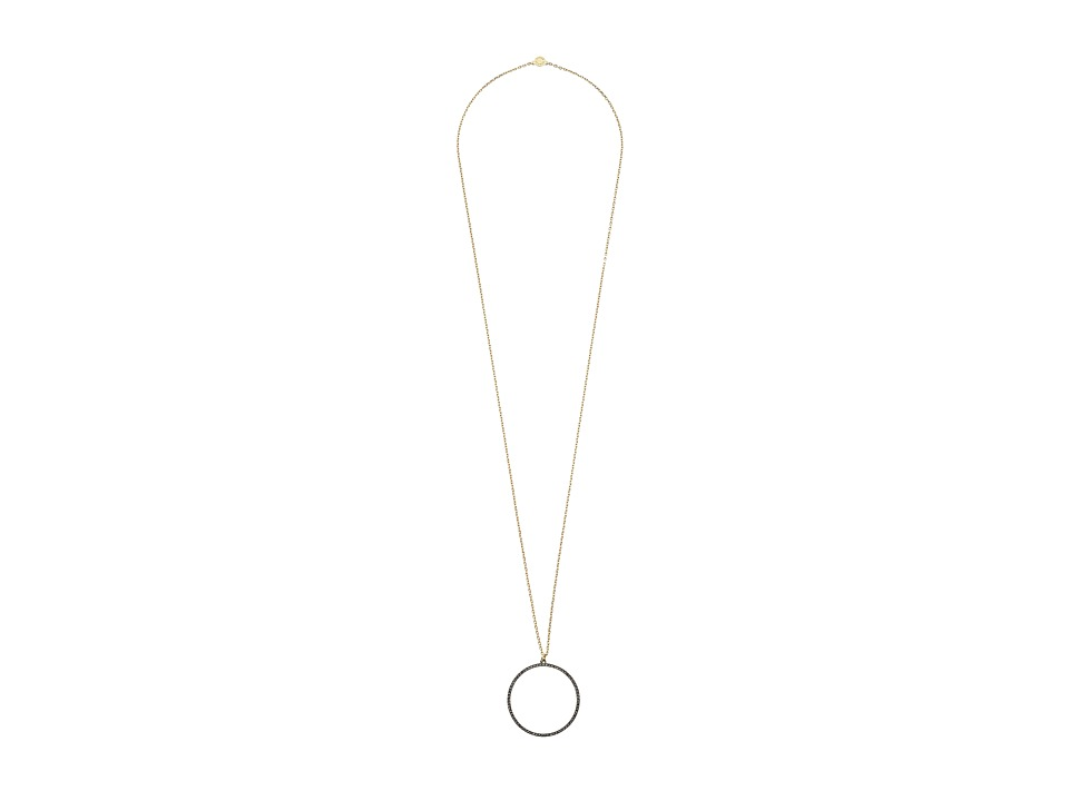 Vince Camuto - Pave Open Circle Pendant Necklace (Gold/Hematite/Black Diamond) Necklace