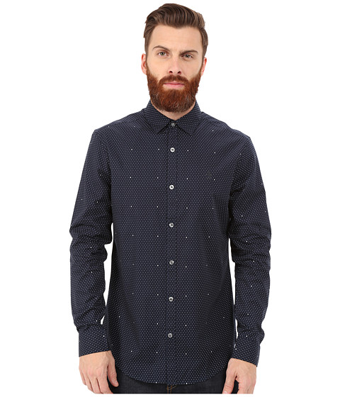 Original Penguin - Long Sleeve Polka Dot Printed (Dark Sapphire) Men's Long Sleeve Button Up