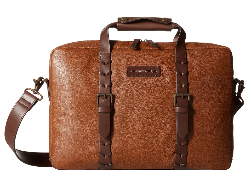 Johnston & Murphy - Zip Top Briefcase (Tan) Briefcase Bags