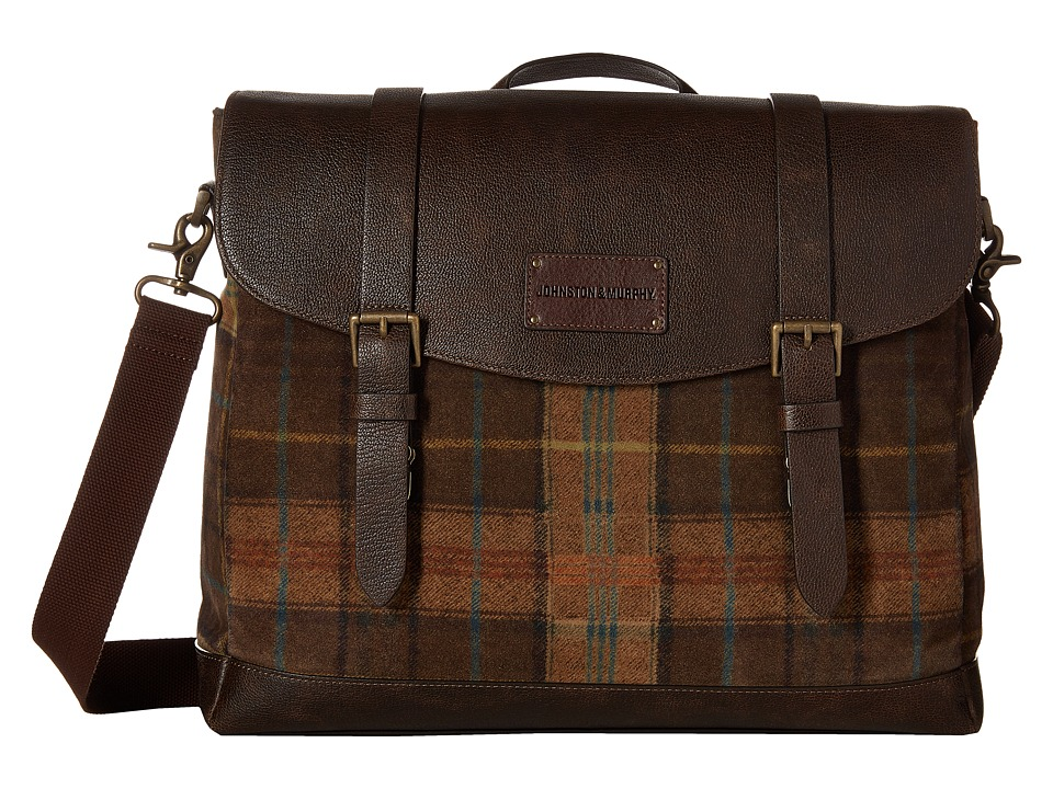 Johnston & Murphy - Suede Leather Flapover Brief (Brown) Briefcase Bags