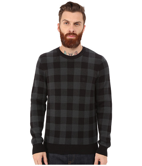Original Penguin - Long Sleeve Crew Buffalo Plaid (True Black) Men