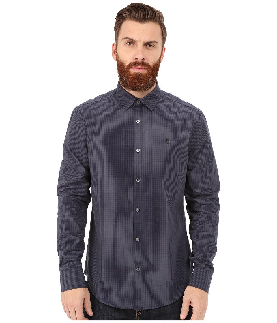 Original Penguin - Long Sleeve Gingham Shirt (Asphalt) Men's Long Sleeve Button Up