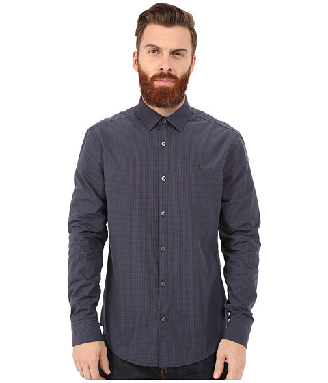 Original Penguin - Long Sleeve Gingham Shirt (Asphalt) Men