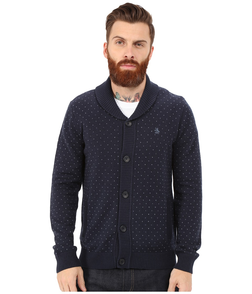 Original Penguin - Long Sleeve Shawl Cardigan (Dark Sapphire) Men
