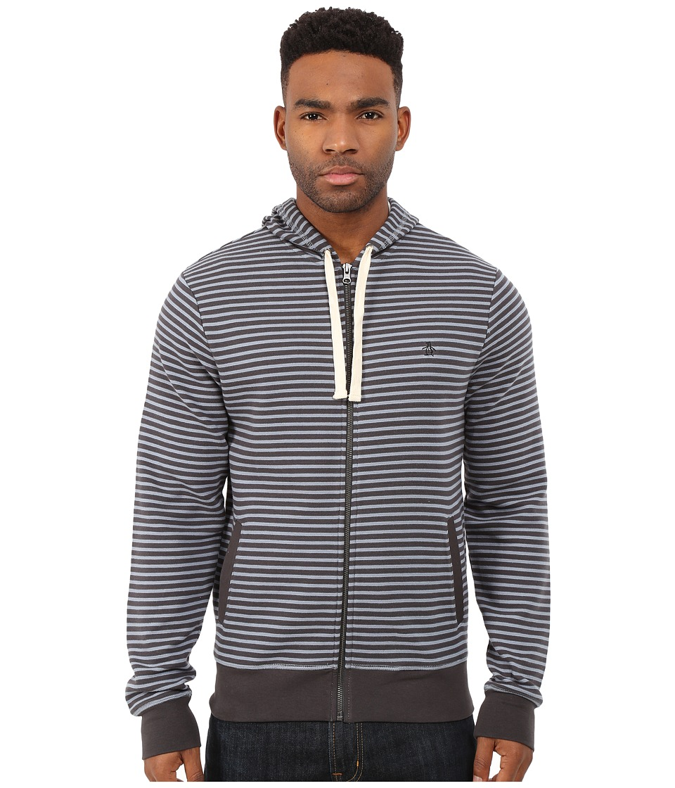 Original Penguin - Long Sleeve Full Zip Raglan (Asphalt) Men