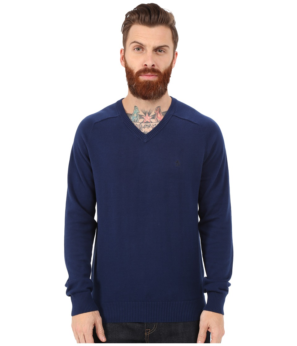 Original Penguin - Long Sleeve Fully Fashioned (Medieval Blue) Men's Sweater