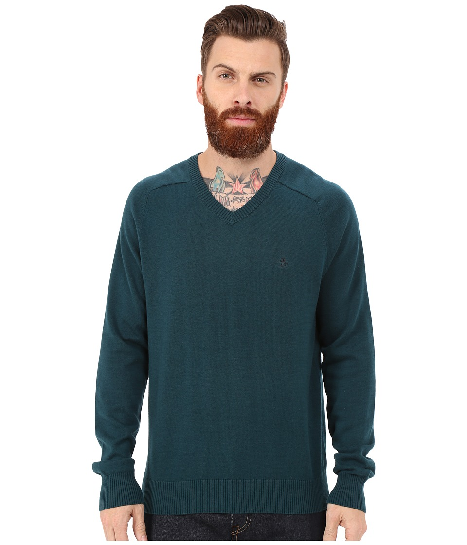 Original Penguin - Long Sleeve Fully Fashioned (Reflecting Pond) Men's Sweater