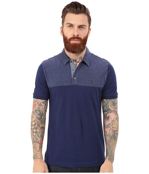 Original Penguin - Short Sleeve Color Block Polo (Medieval Blue) Men's Clothing