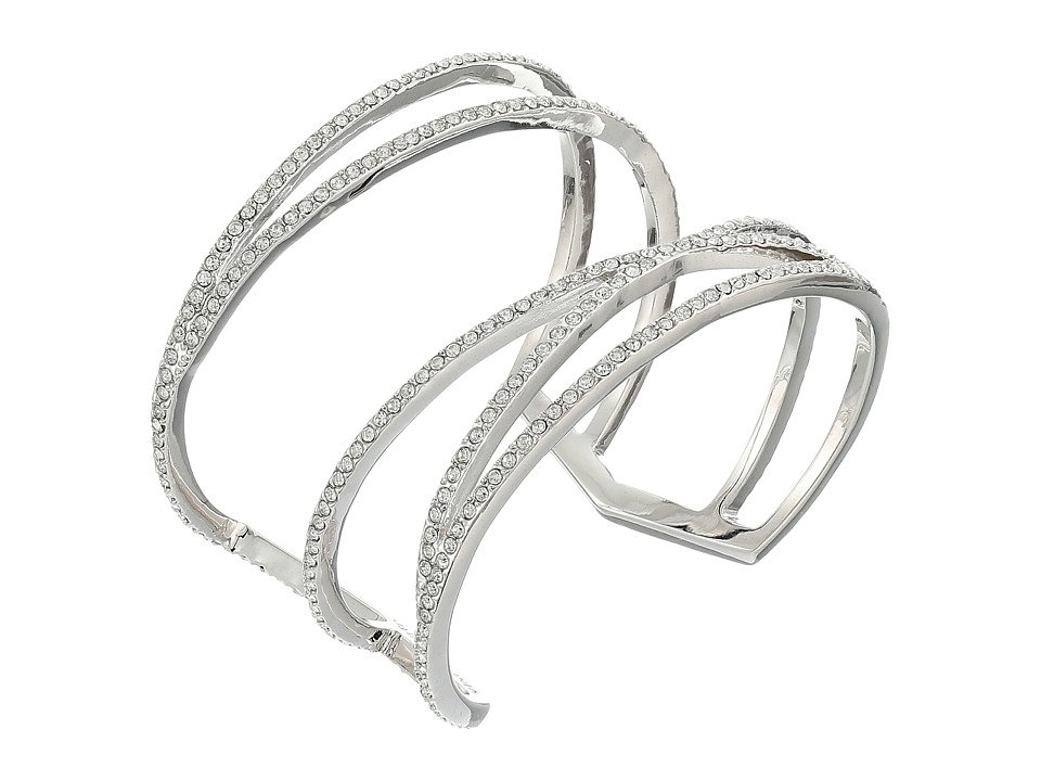 Vince Camuto - Crisscross Cuff Bracelet (Light Rhodium/Crystal) Bracelet