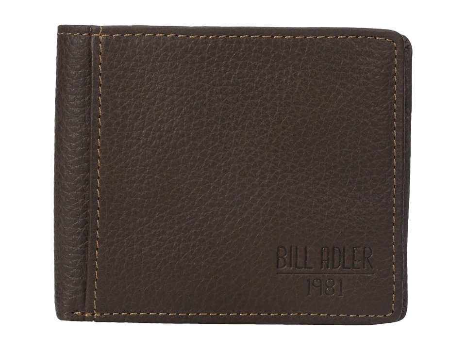 Bill Adler 1981 - Pebble Billfold w/ Exterior Pocket (Brown) Bill-fold Wallet