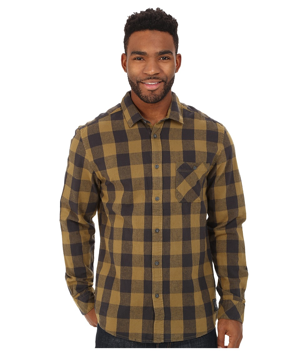 Quiksilver - Motherfly Flannel Woven Top (Motherfly Nutria) Men's Long Sleeve Button Up