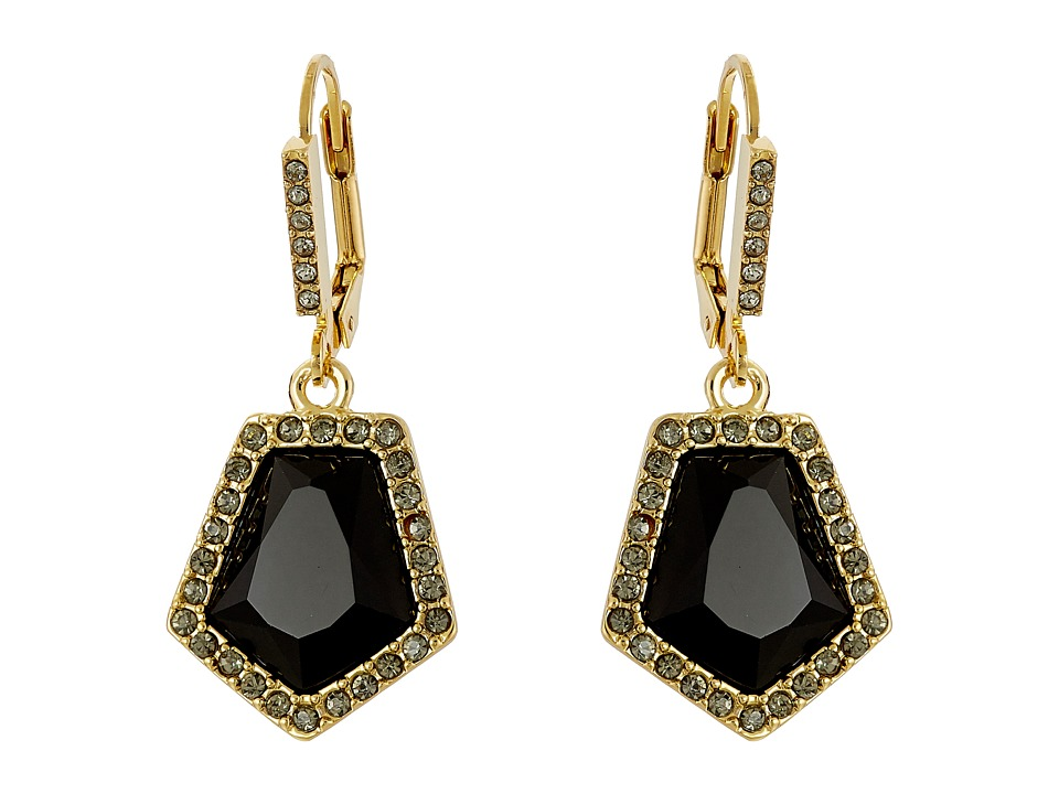 Vince Camuto - Lever Back Stone Drop Earrings (Gold/Jet/Crystal) Earring