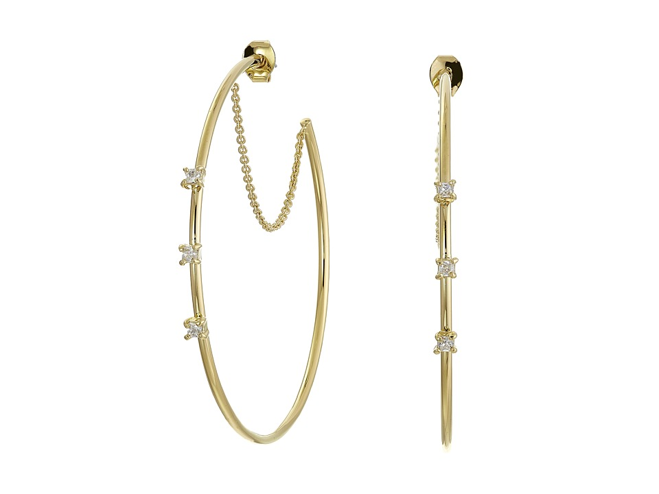 Vince Camuto - Triple Stone Delicate Hoop Earrings (Gold/Crystal) Earring