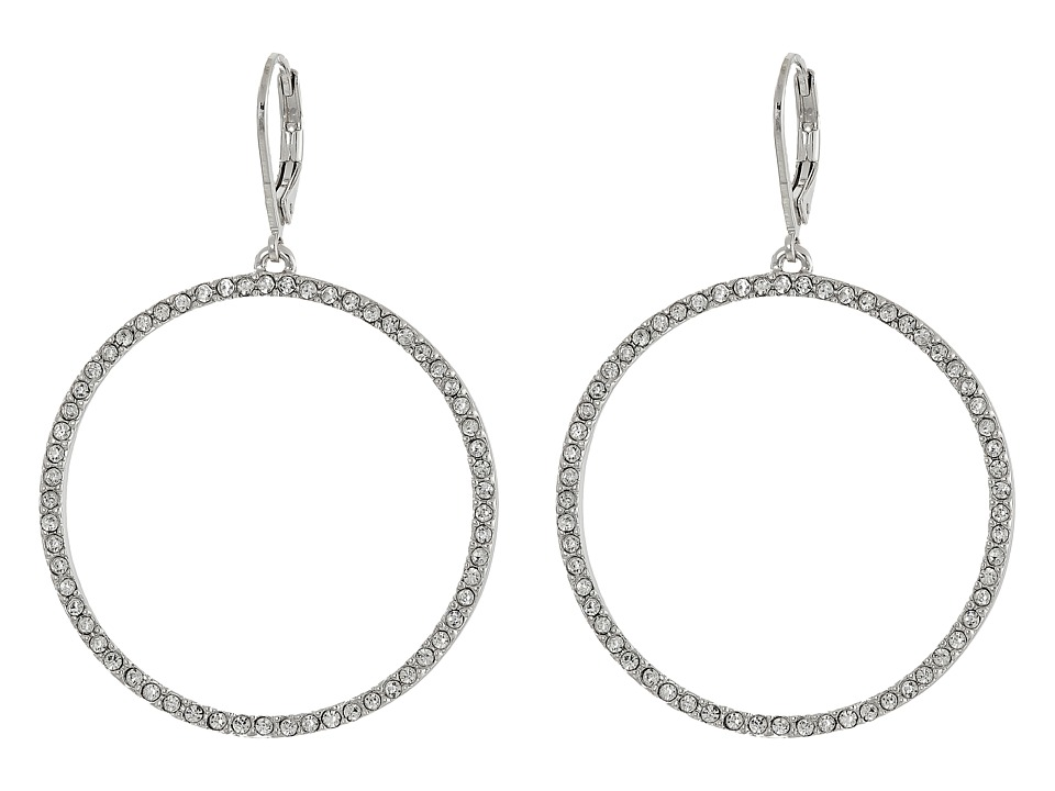 Vince Camuto - Pave Open Circle Earrings (Light Rhodium/Crystal) Earring