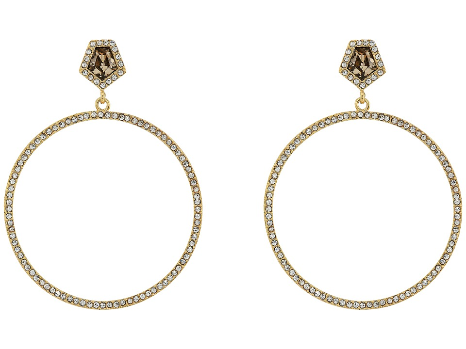 Vince Camuto - Stone Pave Hoop Earrings (Gold/Champagne/Crystal) Earring