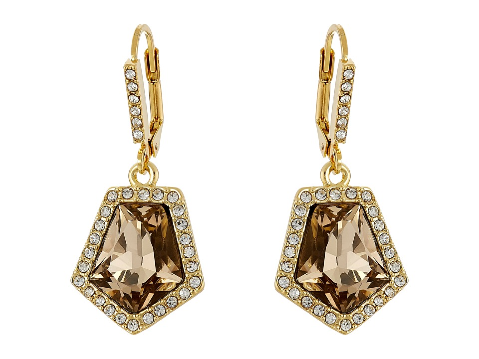 Vince Camuto - Lever Back Stone Drop Earrings (Gold/Champagne/Crystal) Earring